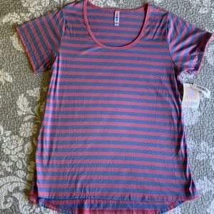 LuLaRoe Pink and Blue Stripe Classic T